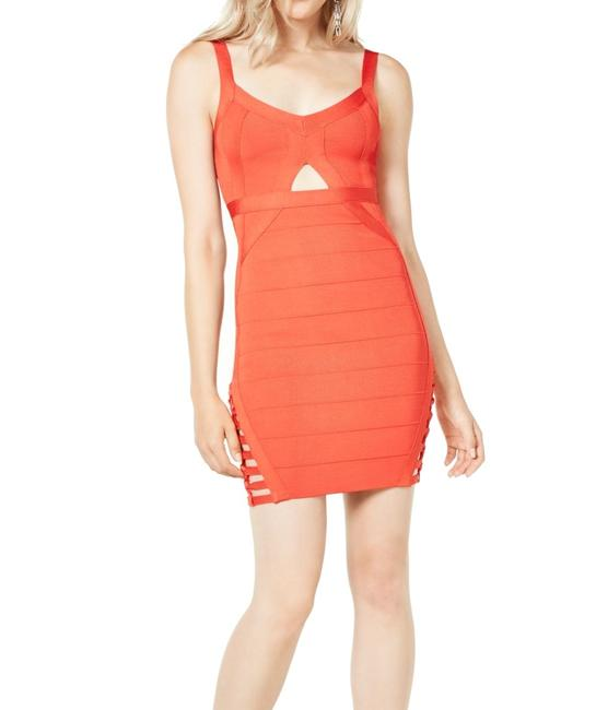 Item - Women's Bandage Coral Orange Size Small S Cutout V Neck Cocktail Dress