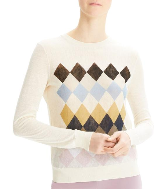 Item - Women's White Ivory Size Medium M Argyle Crewneck Sweater/Pullover