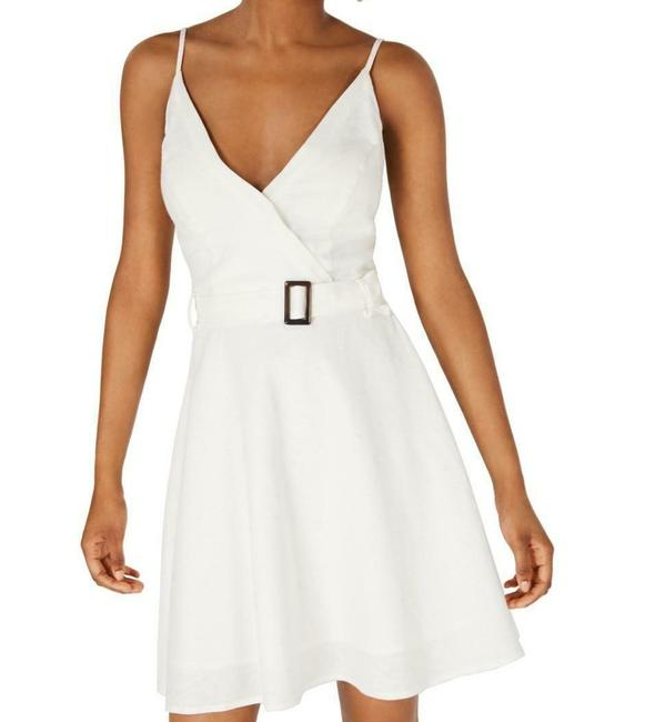 Item - XL White Ivory Size Junior A-line Belted Surplice Cocktail Dress