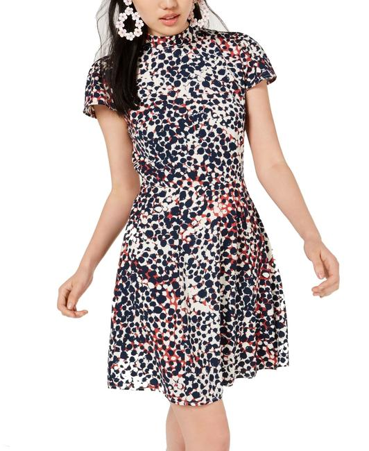 Item - XS Blue Size Junior Sheath Abstract Printed Cocktail Dress