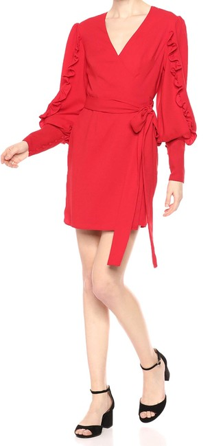 Item - L Women's Red Size Large Forget You Puff Sleeve Wrap Cocktail Dress