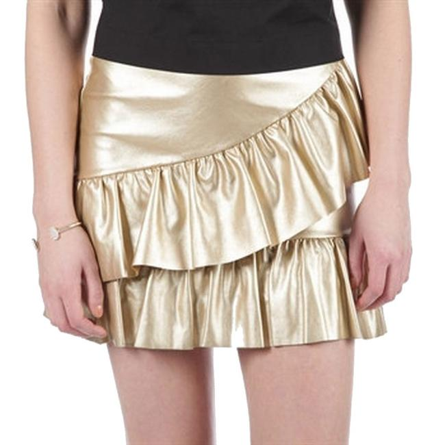 Item - Gold Women's Size Small S A-line Ruffle Faux Leather Skirt