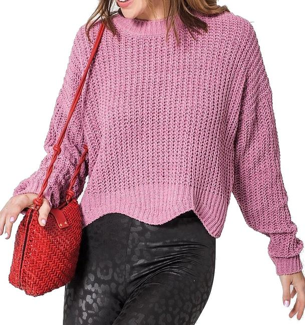 Item - L Women's Pink Size Large Crewneck Asymmetrical Knitted Sweater/Pullover