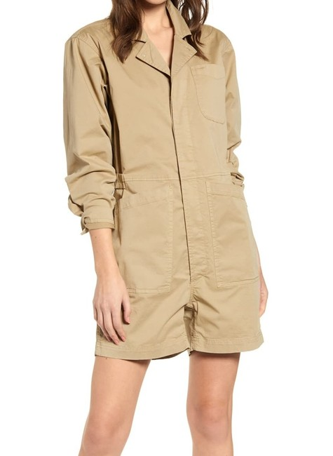 Item - Women's Beige Size Small S Utility Cargo Pocket Romper/Jumpsuit