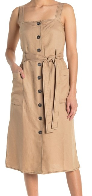 Moon River L Women's Beige Size Large Shift Button Front Belted Cocktail Dress Moon River L Women's Beige Size Large Shift Button Front Belted Cocktail Dress Image 1
