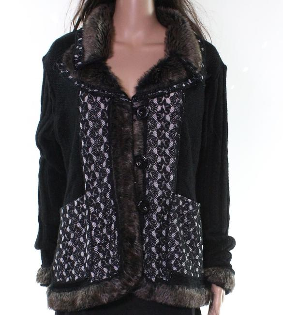 Item - Women's Black Size Medium M Button Front Mixed Knitted Sweater/Pullover