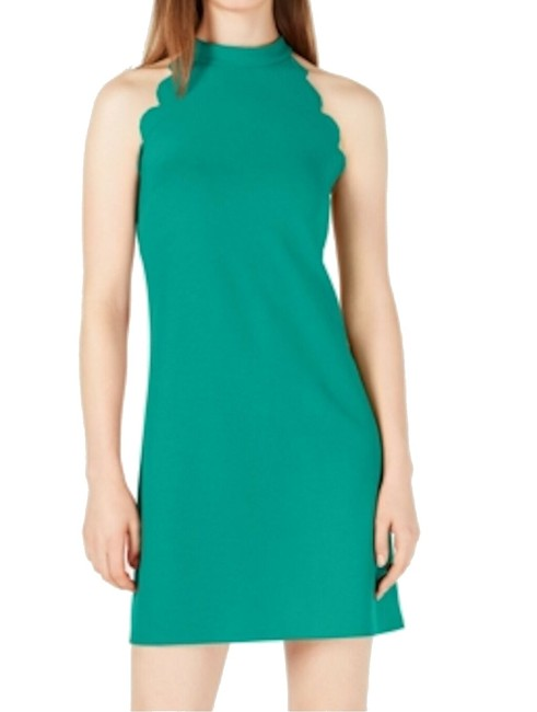 Item - Green Size Small S Juniors' Halter Mini Shift Scalloped Cocktail Dress