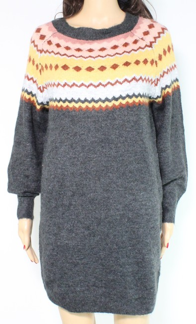 Item - L Women's Sweater Gray Size Large Printed Long Sleeve Cocktail Dress