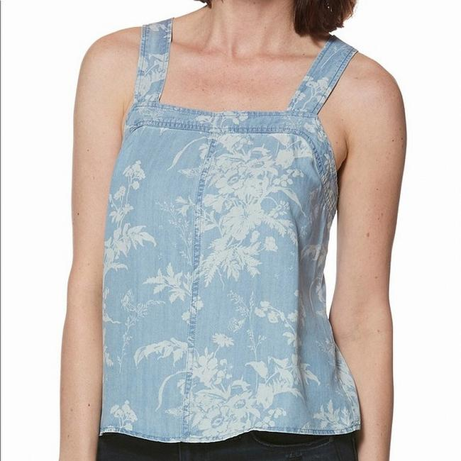 Item - Women's Blue Size Small S Floral Printed Chambray Tank Top/Cami