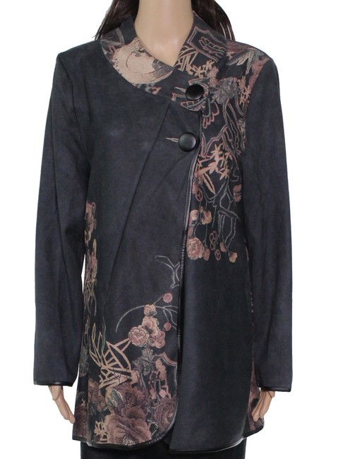 Item - L Women's Gray Size Large Faux Suede Floral Printed Jacket