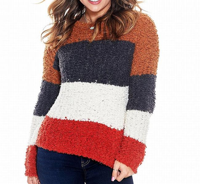 Item - L Women's Blue Red Brown Size Large Striped Sweater/Pullover