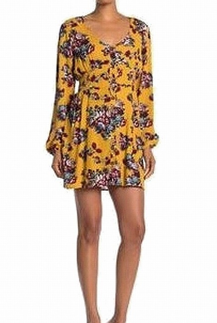 Item - Women's Yellow Size Small S Sheath Floral-print Smocked Cocktail Dress