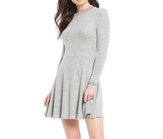 Item - L Gray Size Large Junior Sweater Fit & Flare Cocktail Dress