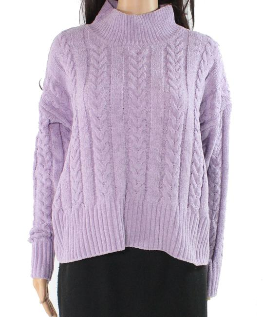 Item - L Women's Purple Size Large Mock-neck Cable-knit Sweater/Pullover