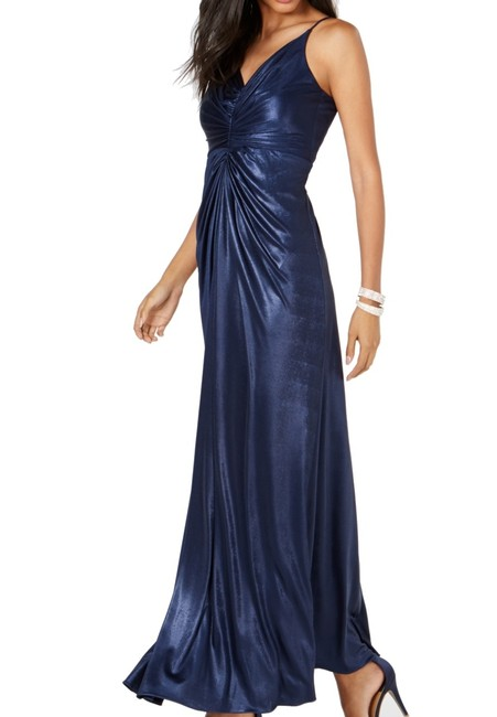 Item - Women's Gown Navy Blue Size 16 Metallic Cinched Front Hosiery