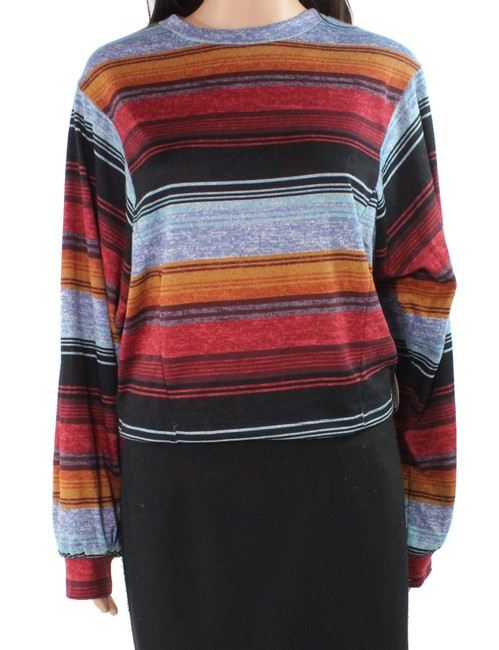 Item - L Women's Crop Top Red Blue Size Large Striped Blouse