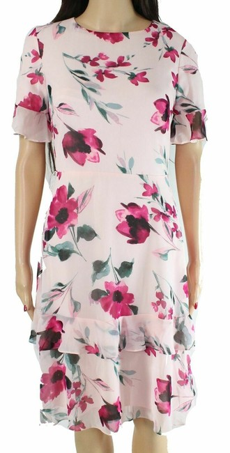 Item - By Women's A-line Pink Size 14 Tiered Floral Cocktail Dress
