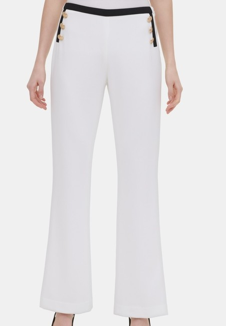 Item - Women's Dress Pearl White Size 8 Button Front Piped Pants