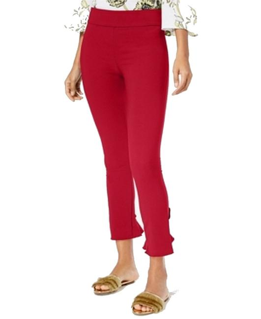 Item - Women's Dress Red Size 0 Curvy Ruffled Hem Skinny Stretch Pants