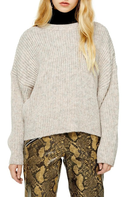 Item - Women's Oat Beige Size 10 Crewneck Ribbed Knitted Sweater/Pullover