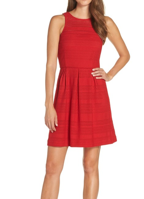 Item - Women's Red Size 0 A-line Pleated Crochet Keyhole Cocktail Dress