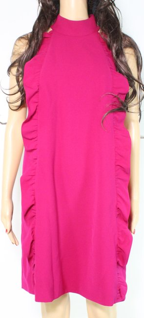 Item - Women's Shift Deep Pink Size 6 Ruffle Halter Neck Cocktail Dress