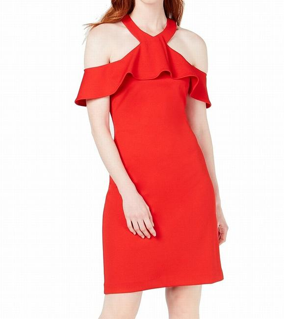 Item - Women's Bright Red Size 4 Sheath Ruffle Cold Shoulder Cocktail Dress