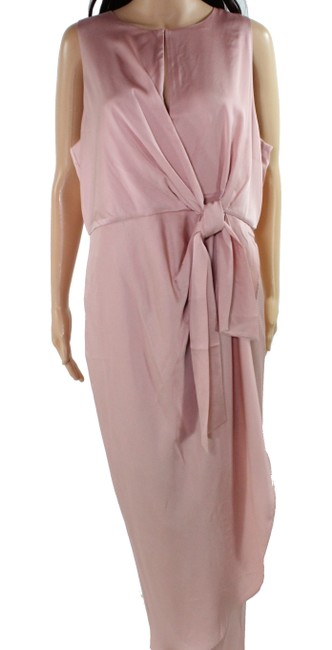 Item - Women's Pink Size 14 Sheath Tied-waist Tulip-hem Cocktail Dress