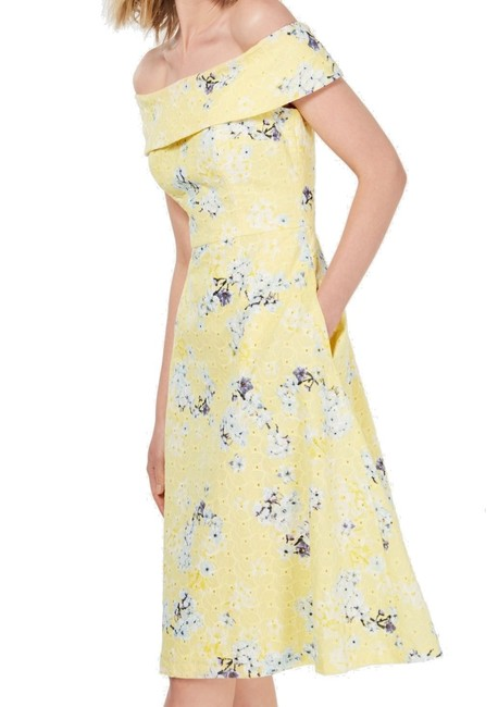 Item - Women's Yellow Size 14 A-line Eyelet Floral Cotton Cocktail Dress