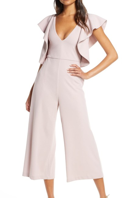 Item - Women's Pink Size 4 Cropped Ruffled Wide Romper/Jumpsuit