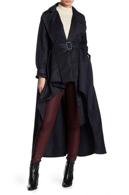 Item - Women's Navy Blue Size 2 Trench High-low Belted Collared Coat