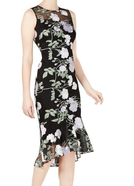 Item - Women's Black Size 6 Sheath Embroidered Floral Midi Cocktail Dress