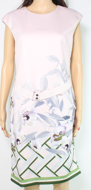 Item - Women's Shift Pink Size 10 Floral Belted Cap Sleeve Cocktail Dress