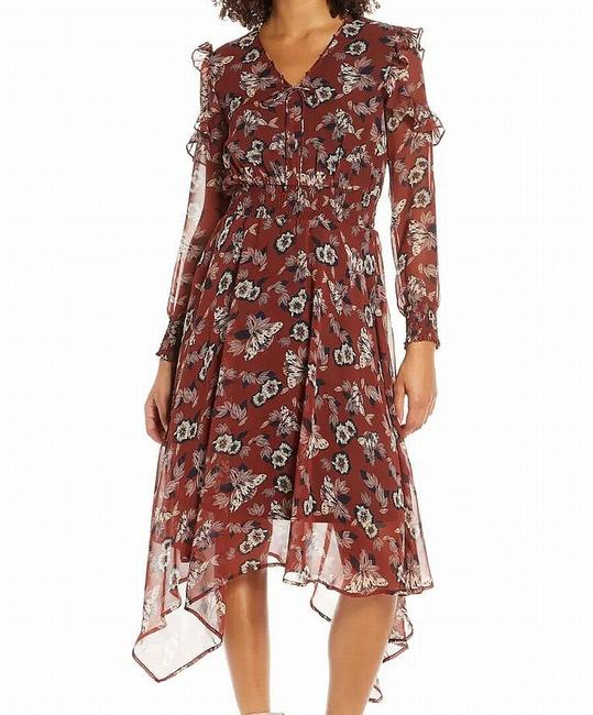 Item - Women's Red Size 10 Sheath Floral Ruffled Shirred Cocktail Dress
