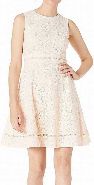 Item - Women's Pink Size 12 A-line Fit & Flare Eyelet Cocktail Dress