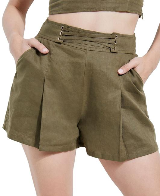 Item - Women's Olive Green Size 8 Pleated Front Lace-up Nydia Shorts