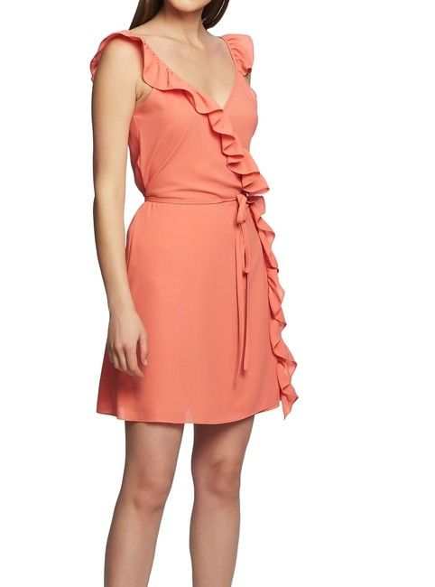 1.STATE Women's Coral Coast Orange Size 6 Faux Wrap Ruffle Trim Casual Maxi Dress 1.STATE Women's Coral Coast Orange Size 6 Faux Wrap Ruffle Trim Casual Maxi Dress Image 1