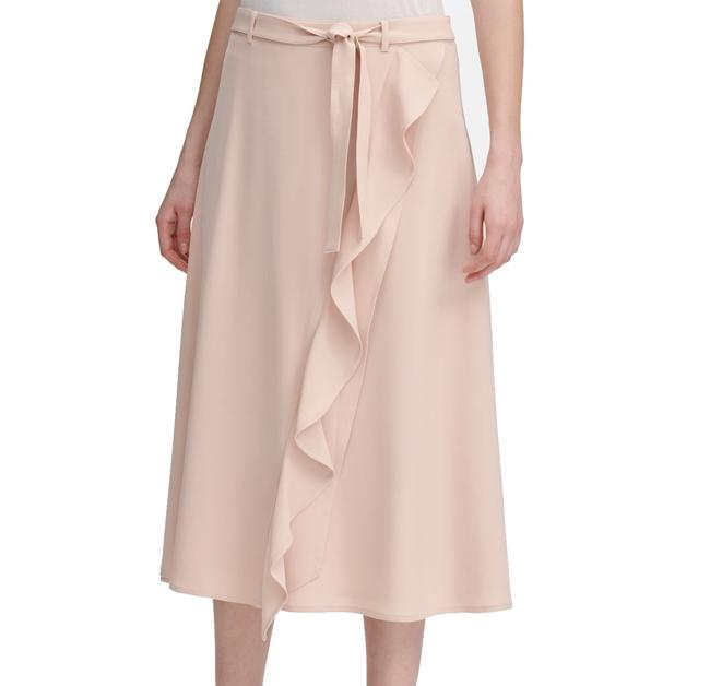 Calvin Klein Women's Nude Pink Size 12 A-line Ruffle Faux Wrap Skirt Calvin Klein Women's Nude Pink Size 12 A-line Ruffle Faux Wrap Skirt Image 1