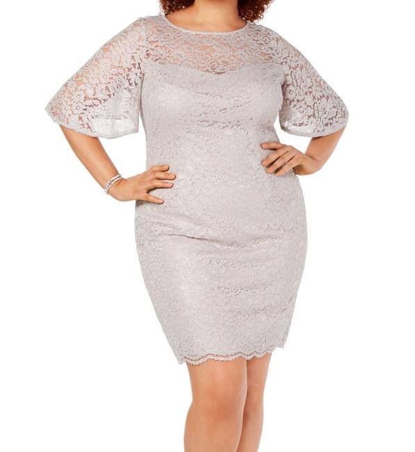 Item - Women's Gray Size 10 Sheath Lace Rhinestone Trim Cocktail Dress