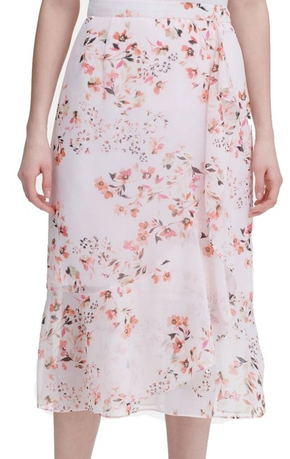 Item - Women's Pink Size 14 Straight Pencil Floral Chiffon Skirt