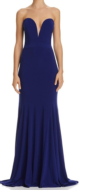 Item - Women's Deep Solid Blue Size 4 Gown Sweatheart Strapless Night Out Dress