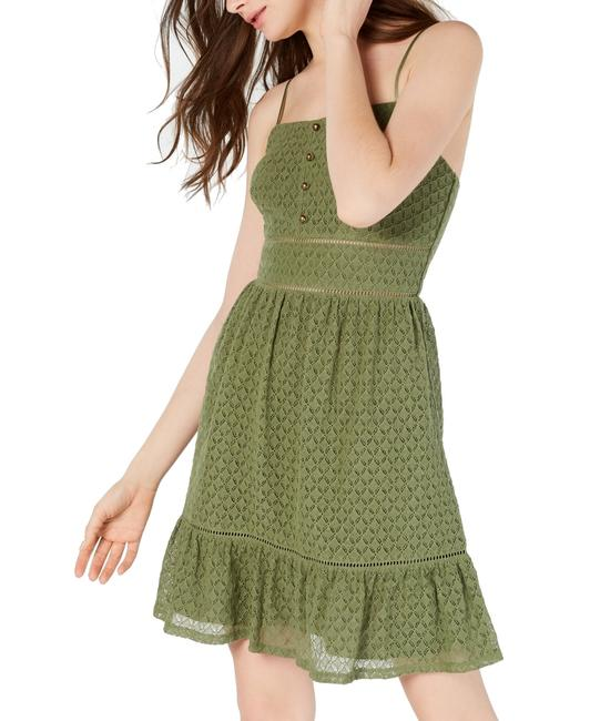 Item - Olive Green Size 0 Junior Shift Button Front Cocktail Dress