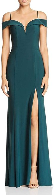 Item - Women's Deep Green Size 0 Cold Shoulder Slit Gown Night Out Dress