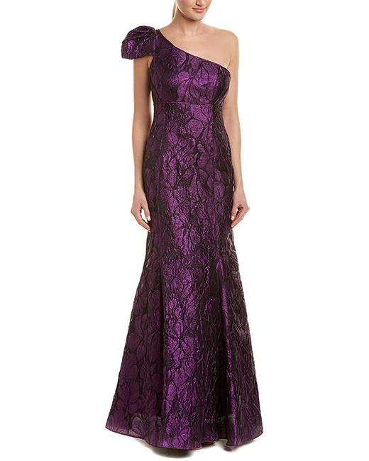 Item - Women's Purple Size 10 Gown One-shoulder Floral Night Out Dress