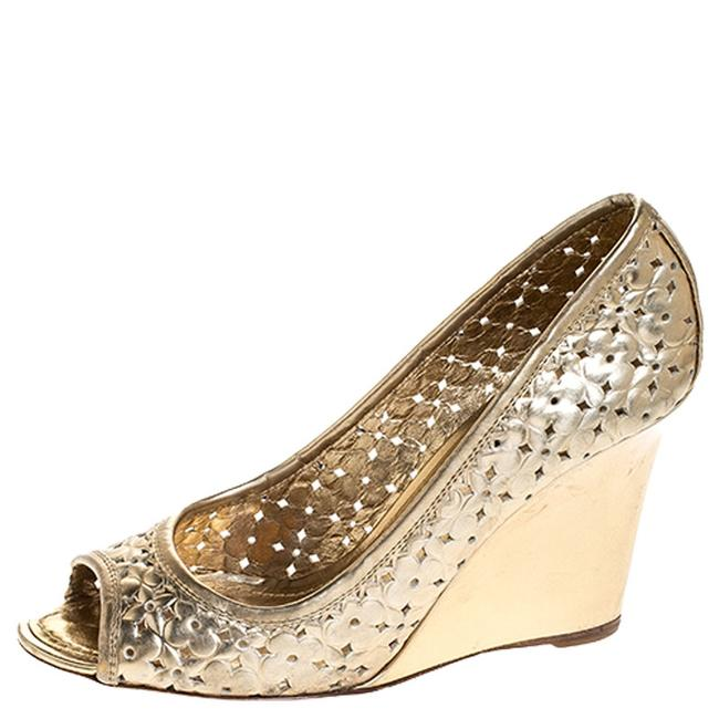 Item - Gold Stand By Me Peep Toe Wedge Size 36 Pumps