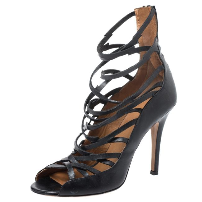 Item - Black Leather Paw Strappy Size 38 Sandals