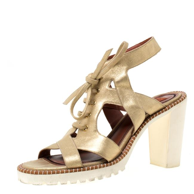 Item - Metallic Gold Suede Cut Out Lace Up Size 39 Sandals