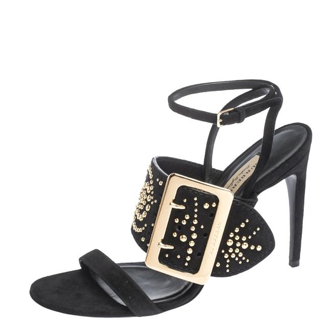 Item - Black Suede Stud Embellished Padstow Ankle Wrap Size 40 Sandals