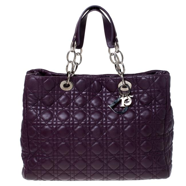 Item - Purple Cannage Quilted Soft Leather Large Shopper Tote