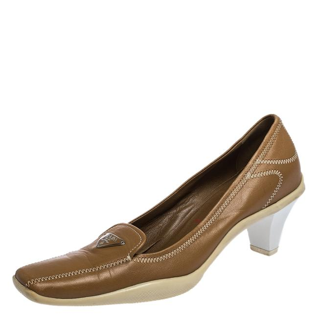 Item - Brown Embroidered Leather Loafers Size 34.5 Pumps